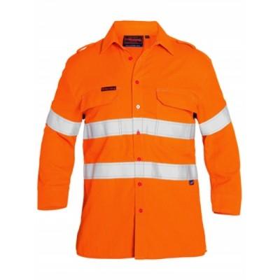 Bisley Tencate Flame Retardant Tecasafe Plus Taped Hi Vis Fr Vented Shirt - Long Sleeve
