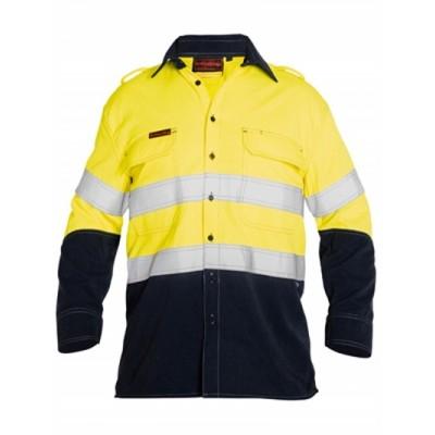 Bisley Tencate Flame Retardant Tecasafe Plus Taped Hi Vis Two Tone Hi Vis Fr Vented Shirt - Long Sleeve
