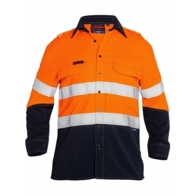 Bisley Tencate Flame Retardant Tecasafe Plus Taped Two Tone Hi Vis Lightweight Fr Vented Shirt - Long Sleev
