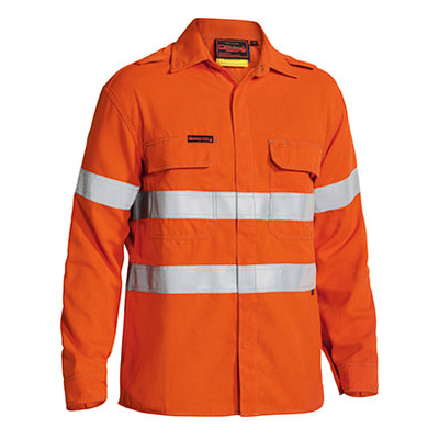 Bisley Tencate Flame Retardant Tecasafe Plus Taped Hi Vis Fr Non Vented Shirt - Long Sleeve