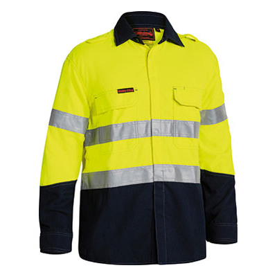 Bisley Tencate Flame Retardant Tecasafe Plus Taped Two Tone Hi Vis Fr Non Vented Shirt - Long Sleeve