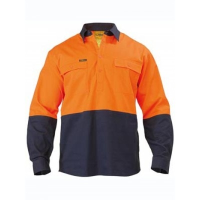 Bisley Two Tone Closed Front Drill Shirt - Long Sleeve