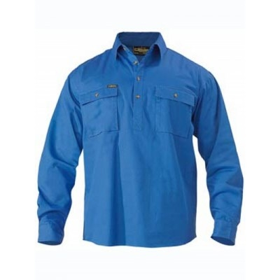 Bisley Closed Front Cotton Drill Shirt - Long Sleeve