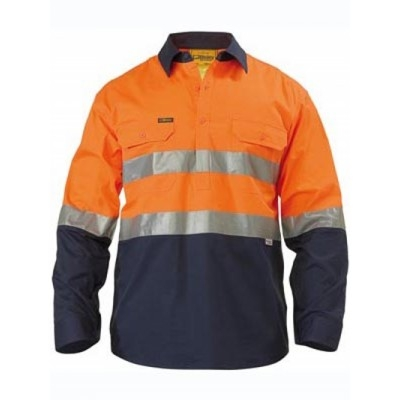 Bisley 3M Taped Two Tone Hi Vis Cool Lightweight Closed Front Shirt - Long Sleeve
