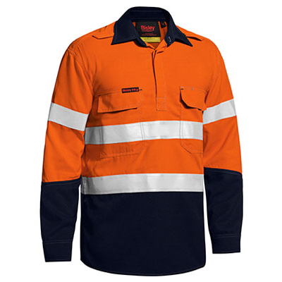 Bisley Tencate Flame Retardant Tecasafe Plus Taped Two Tone Hi Vis Fr Closed Front Shirt With Concealed Fro