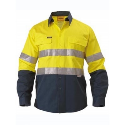 Bisley 3M Taped Two Tone Hi Vis Drill Shirt - Long Sleeve