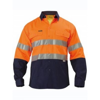Bisley 3M Taped Two Tone Hi Vis Drill Shirt - Embroidery Pack, 10 Units Per Size - Long Sleeve