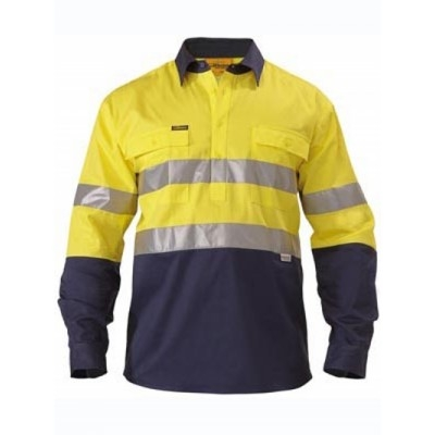 Bisley 3M Taped Two Tone Closed Front Hi Vis Drill Shirt - Long Sleeve