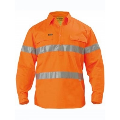 Bisley 3M Taped Hi Vis Closed Front Drill Shirt - Long Sleeve