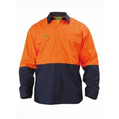 Bisley Insect Protection Two Tone Cool Lightweight Vented Drill Shirt - Long Sleeve