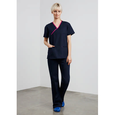 Contrast Ladies Crossover Scrubs Top
