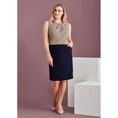 Womens Front Pleat Detail Straight Skirt (20720_BZC)
