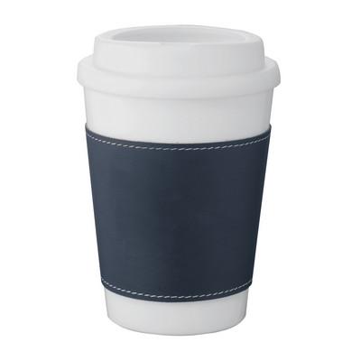 Double-Walled White Tumbler - Blue Sleeve