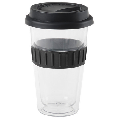 Plastic Double-Walled Mug - Black