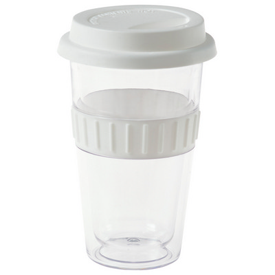 Plastic Double-Walled Mug - White