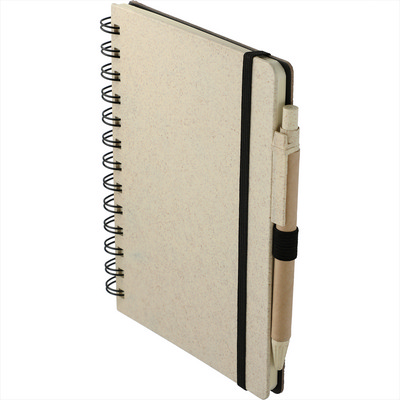 5     x 7      Wheat Straw Notebook With Pen (SM-3583_BUL)