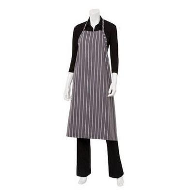 Grey Chalkstripe Adjustable Chefs Apron