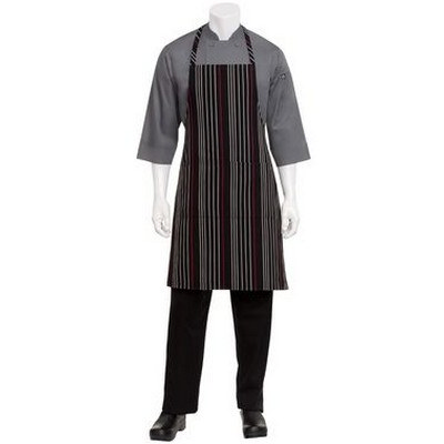 BlackWhiteRed Striped Bib Apron