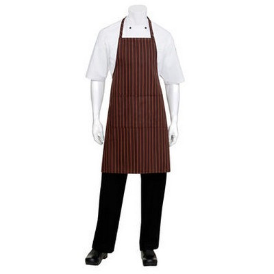 BrownOrange Striped Bib Apron
