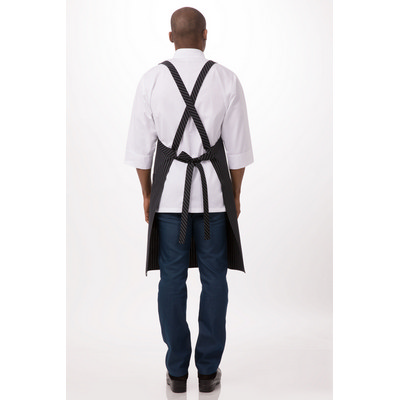 Black with White Pinstripe Crossover Apron