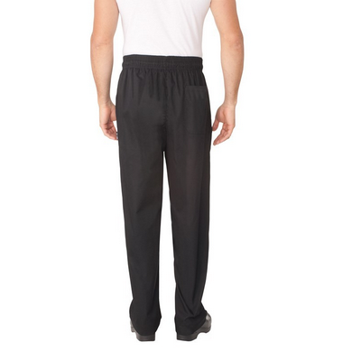 Black Baggy Chef Pants w Zipper Fly