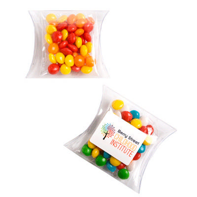 Chewy Fruits (Skittle Look Alike) In Pvc Pillow Pack 50G sticker