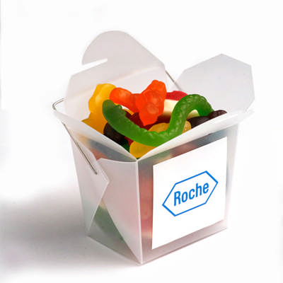 Frosted PP Noodle Box Filled with Mixed Lollies 100G - (printed with 1 colour(s)) CC043F_CONF