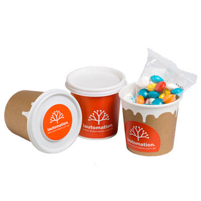 Coffee Cup Filled With Chewy Fruits (Skittle Look Alike) 50G - WRAP AROUND & LID stickers