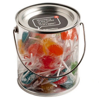Big PVC Bucket filled with Small Flat Lollipops