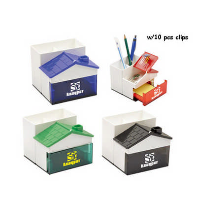 Pen Holder with Memo Holder with Clips