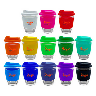 Carlo Glass Coffee Cup - Silicone Band