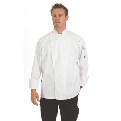200gsm Polyester Cotton Traditional Chef Jacket, L/S, 10 Matching colour buttons included
