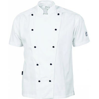 190gsm Cool-Breeze Cotton Chef Jacket with Under Arm Airflow Vents, S/S, 10 Matching colour buttons