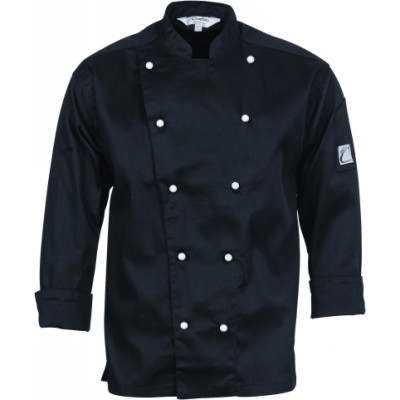 190gsm Cool-Breeze Cotton Chef Jacket with Under Arm Airflow Vents, L/S, 10 Matching colour buttons
