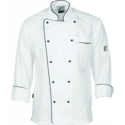 200gsm Polyester Cotton Classic Chef Jacket, L/S, 10 Matching colour buttons included