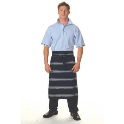 210gsm Polyester Cotton Blue & White Stripe 3/4 Apron No Pocket
