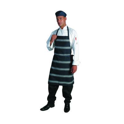 210gsm Polyester Cotton Blue & White Stripe Full Bib Apron No Pocket