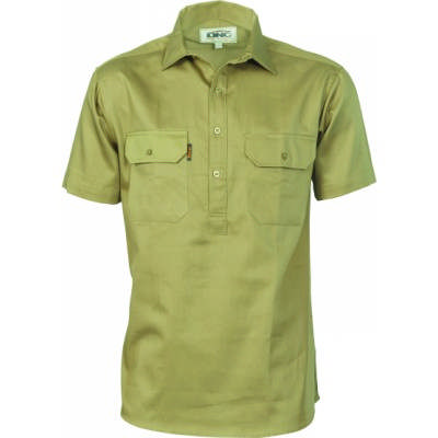 Ctn Drill Closed Front Work Shirt-SS