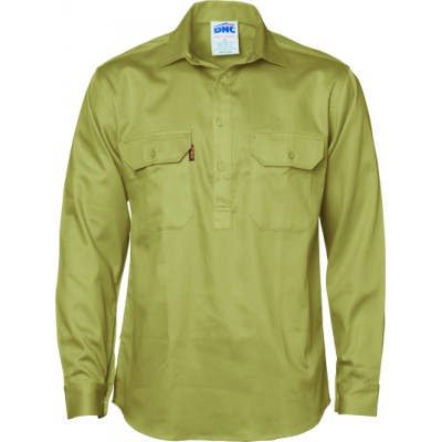 Closed Front Cotton Drill Shirt - LS