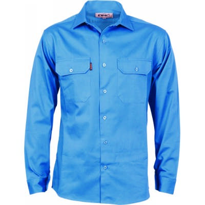 190gsm Cotton Drill Work Shirt with Gusset Sleeve - L/S