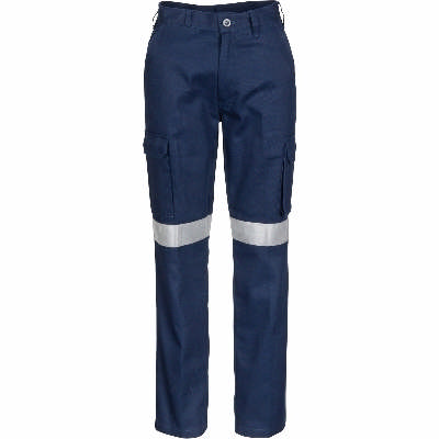 311gsm Ladies Cotton Drill Cargo Pants with 3M R/ Tape