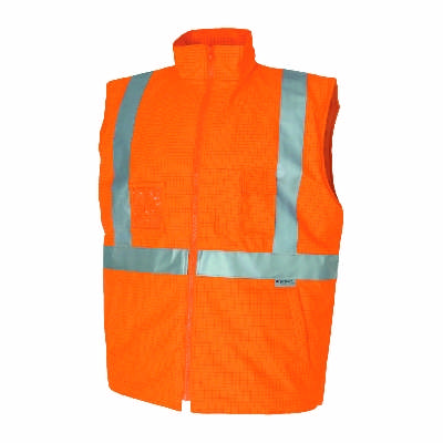 300D Polyester/PU Hivis FR & Anti-static safety vest with 3M8935 FR Reflective Tape. Availability-