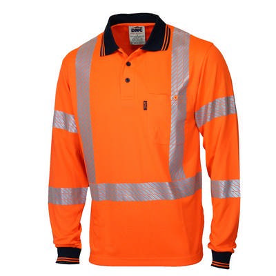 HiVis Segmented Tape X Back Polo - LS