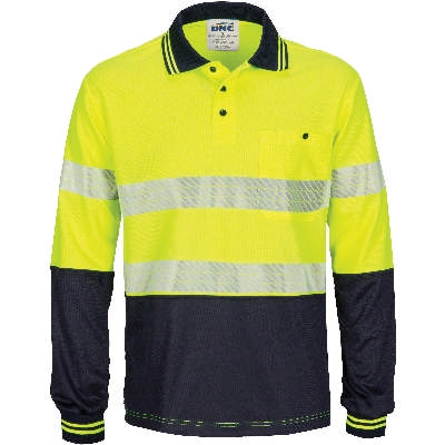 HiVis Segment Taped Micromesh Polo- Long Sleeve