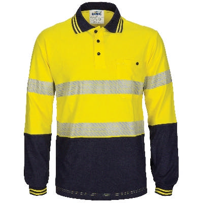 HiVis Segment Taped Cotton Jersey Polo- Long Sleeve
