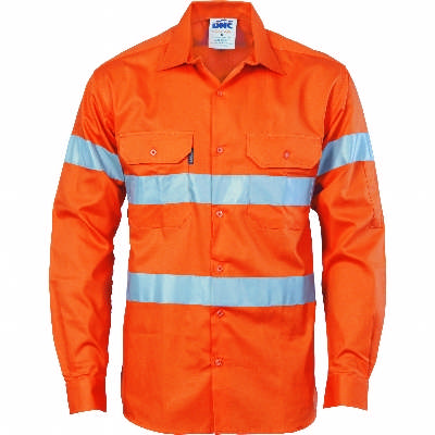 190gsm HiVis Drill Shirt With Hoop Pattern CSR R/Tape, L/S. Orange. Availability- In Stock