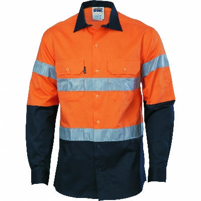 190gsm HiVis D/N 2 Tone Drill Shirt With Hoop Pattern CSR R/Tape, L/S. Availability- In Stock