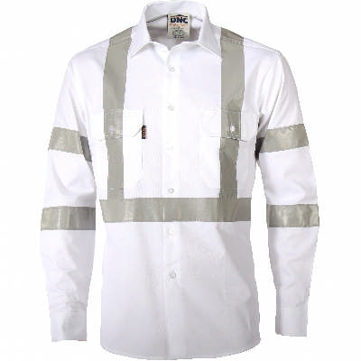 190gsm RTA White Shirt CSR R/Tape, L/S. White. Availability- In Stock