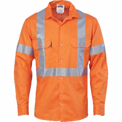 HiVis DN Ctn Shirt w/ Cross Back CSR RTape-LS 8XL
