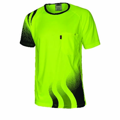 175gsm Hi-Vis Cool-Breathe Hi-Vis Sublimated Wave T-Shirt, End of October